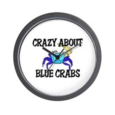 Crazy About Blue Crabs Wall Clock