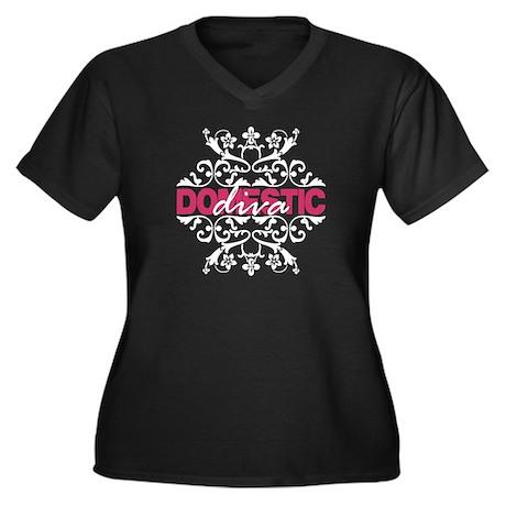 Domestic Diva Women's Plus Size V-Neck Dark T-Shir