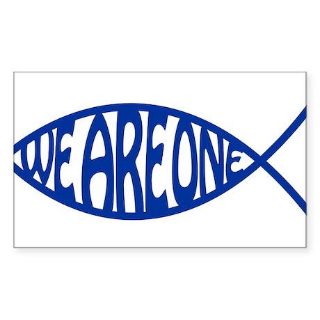 Jesus Christ We Are One Fish Rectangle Sticker