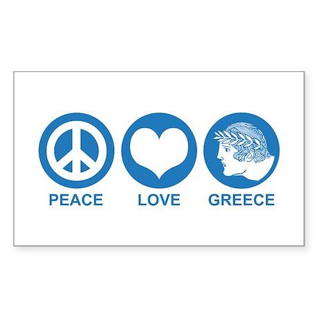 Peace Love Greece Rectangle Sticker