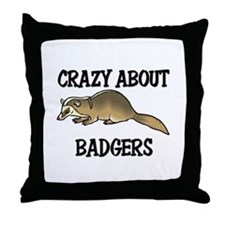 Crazy About Badgers Throw Pillow