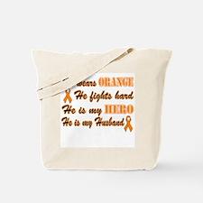 He is my Husband Orange Hero Tote Bag