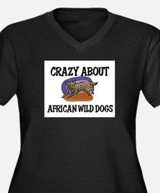 Crazy About African Wild Dogs Women's Plus Size V-