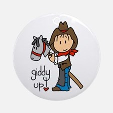 Giddy Up Cowboy Ornament (Round)