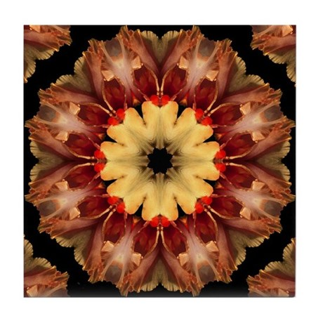 Yellow Iris Mandala Tile Coaster