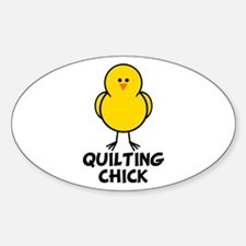 Quilting Chick Oval Decal
