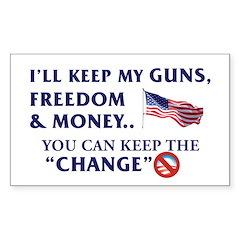 Keep Guns, Freedom & Money Rectangle Decal