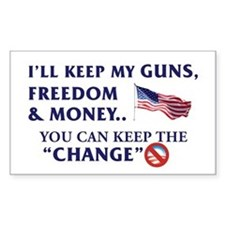 Keep Guns, Freedom & Money Rectangle Decal