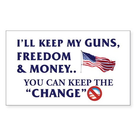 Keep Guns, Freedom & Money Rectangle Sticker