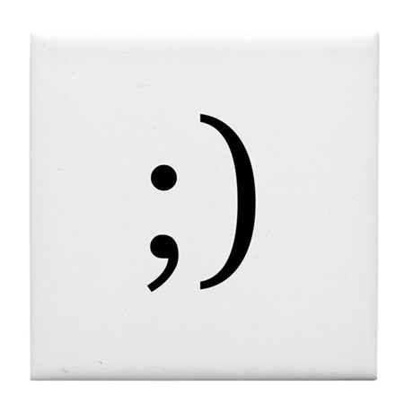 Wink Emoticon Tile Coaster