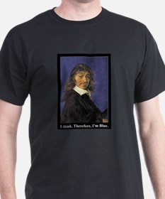 Descartes: I think. Therefore, I'm blue. Black T-S