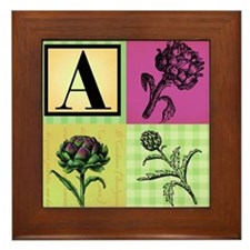A is for Artichoke Framed Tile