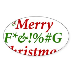 Merry Fucking Christmas Oval Decal