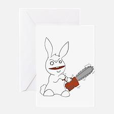 Cute Chainsaw rabbit Greeting Card