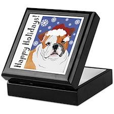 Bulldog Santa Keepsake Box