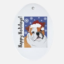 Bulldog Santa Oval Ornament