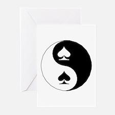 Yin Yang Spades Greeting Cards (Pk of 10)