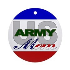 US Army Mom Christmas Ornament (Round)