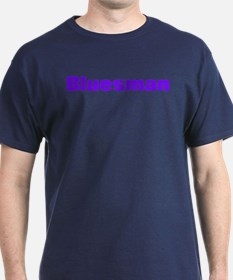 Bluesman Blue lettering on dark T-Shirt