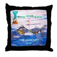 Fish Make Love Throw Pillow