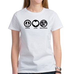Peace Love Bulldogs Women's T-Shirt
