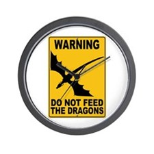 Do Not Feed the Dragons Wall Clock