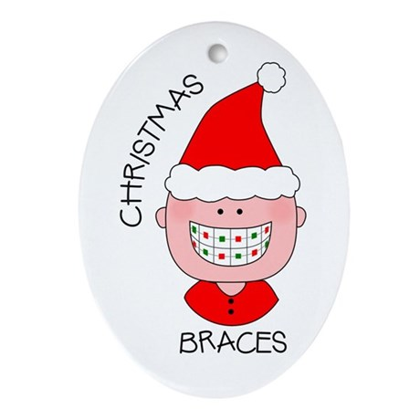Christmas Braces Oval Ornament