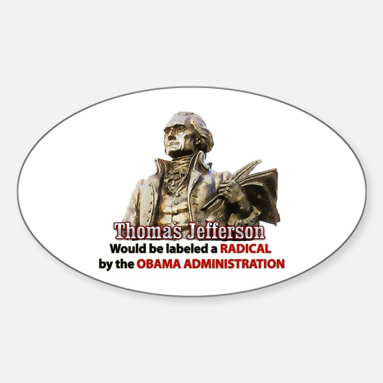 Thomas Jefferson founding father Oval Decal