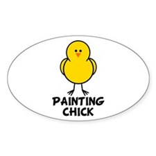 Painting Chick Oval Decal