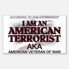 American Terrorist Veteran of Rectangle Decal