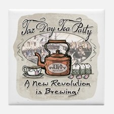 Tax Day Tea Party Tile Coaster