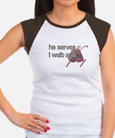 He Serves & I wait and pray Women's Cap Sleeve T-S
