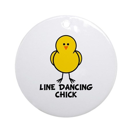 Line Dancing Chick Ornament (Round)