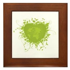 Green Heart and Earth Framed Tile