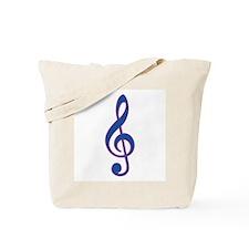 Neon Blue Treble Clef Tote Bag