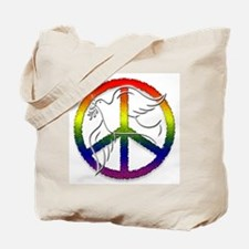 Gay Pride Peace Sign Dove Tote Bag