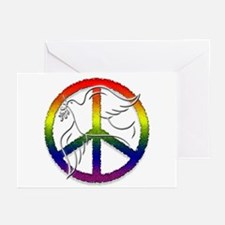 Gay Pride Peace Sign Dove Greeting Cards (Package