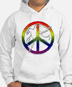 Gay Pride Peace Sign Dove Hoodie