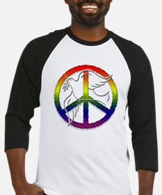 Gay Pride Peace Sign Dove Baseball Jersey
