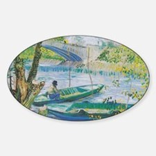 Van Gogh Fisherman and boats Sticker (Oval)