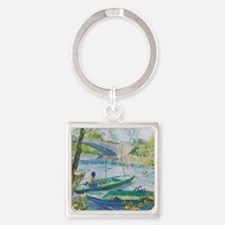 Van Gogh Fisherman and boats Square Keychain
