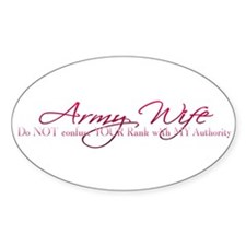 Army Wife Rank Oval Decal