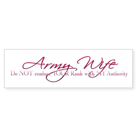 Army Wife Rank Bumper Sticker