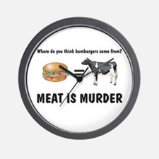 Unique Meat is murder Wall Clock