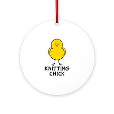 Knitting Chick Ornament (Round)