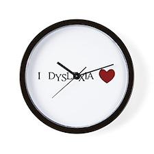 I Dyslexia Love Wall Clock