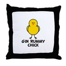 Gin Rummy Chick Throw Pillow
