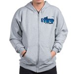 On Fire for the Lord 2 blue Zip Hoodie