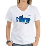 On Fire for the Lord 2 blue Women's V-Neck T-Shirt