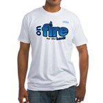 On Fire for the Lord 2 blue Fitted T-Shirt